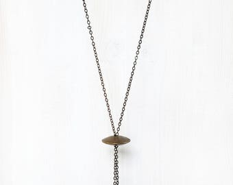 ANCIENT STONE BEAD || statement pendant necklace