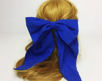 90's Cobalt Blue Giant Bow Clip Blue Bow French Clip Hair Barrette - Fashion Basic Huge Bow Clip Hipster Nineties Grunge Accessory Long Bow
