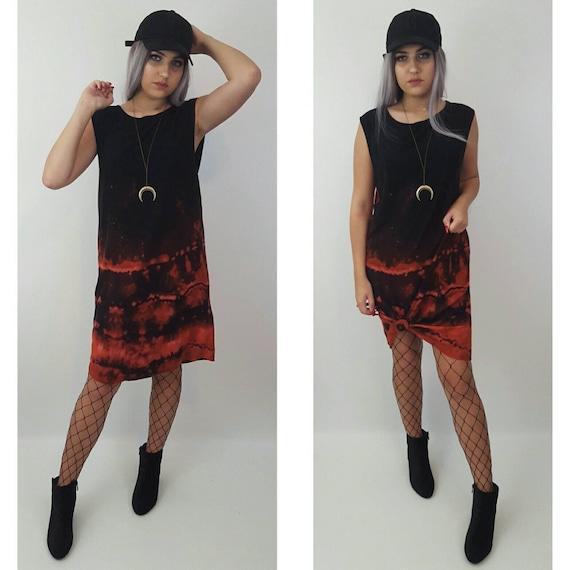 90s Remade Dark Tie Dye Bleach Midi Dress Medium - Hand Dyed Tiedye Bleached Dye Sleeveless Tank Dress - Grunge Goth Tiedyed Summer Sundress