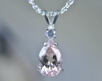 MORGANITE - Genuine ELITE Pink Morganite Sterling Silver Necklace with White Sapphire Accent! Free USA Shipping!