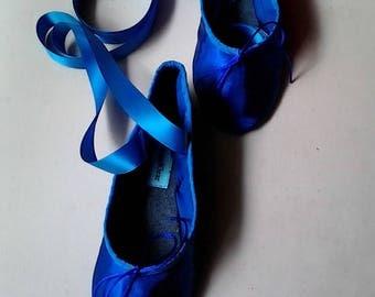 Royal Blue Satin Ballet Slippers -  Split Soles - size US 5 / AUS 4 / EU 35.5  - Ready to Ship
