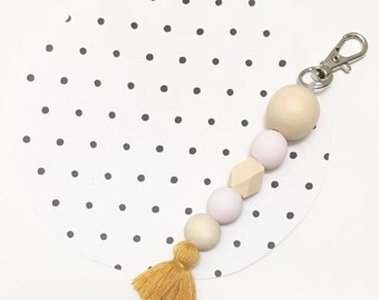NEW Mabel Keyring // pale pink and mustard