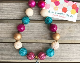 Girls Chunky necklace,Girls rustic necklace,Girls cross necklace,Girls necklace,Bubblegum necklace,Beaded necklace,Gumball necklace