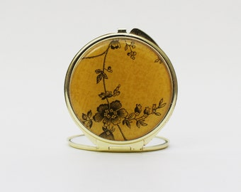 70s Compact Mirror - Vintage 1970s Yellow Floral Hand Mirror