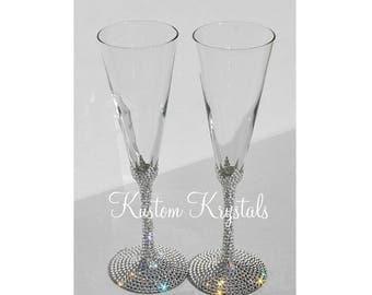 Items Similar To Rhinestone Bling Champagne Flutes