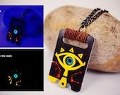 Glowing Sheikah Slate Zelda Acrylic Plastic Pendant Necklace Glow in the dark UV light