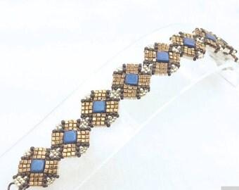 "MaterialKIT  bracelet ""Turn Around""  blue/gold"