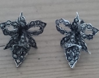 Vintage marcasite clip on earrings