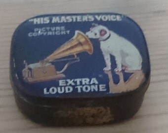 Vintage his masters voice tin of gramophone needles