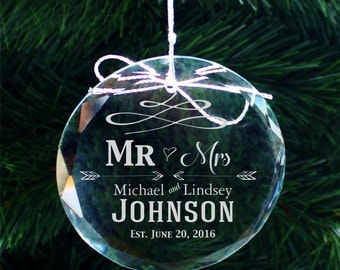 SHIPS FAST, Custom Engraved Wedding Ornament, Personalized Newlywed Ornaments, First Christmas Couples Ornament, Gift for Couple -  COR31