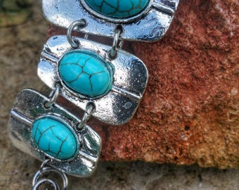Wide bracelet silver turquoise dyed howlite, stone of realignment