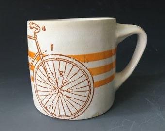White Bike Mug with Orange Stripes