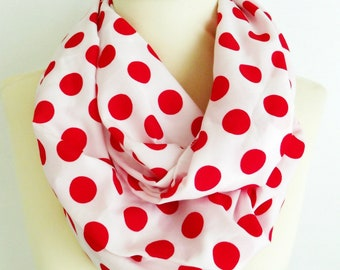 Red Polka Dots Infinity Scarf, Red Scarf, Polkadots Scarf Women Accessories, Red white scarf, Vintage style scarf