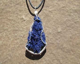 Large Azurite Pendant Sterling Silver Wire Wrap Raw Azurite Stone - High Grade Azurite Crystal Nugget Necklace, Raw Crystals Healing Stones