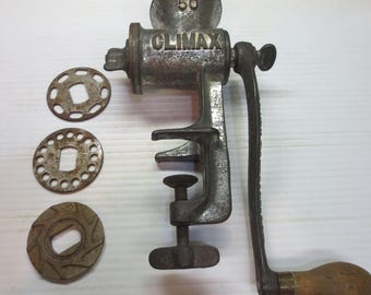 1940's Climax N0. 50 Vintage Meat Grinder With 4 Different Blades One Nut Butter