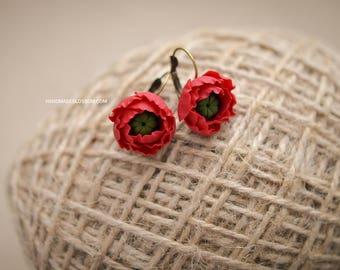 Poppy red earrings, Red flower earrings, Wildflowers jewelry, Red wedding earrings, Red style jewelry