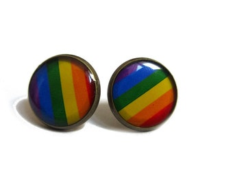 RAINBOW Earrings - Rainbow Stripe Earrings - Gay Pride Earrings - LGBT Earrings - LGBT Jewelry - Rainbow Stud Earrings - Lesbian Earrings