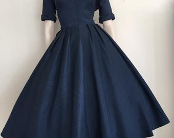 Reserved  Gorgeous 50s New Look Navy Day Dress / Medium Large / Full Skirt