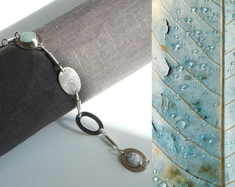 Beautiful silver bracelet with 2 gemstones handmade