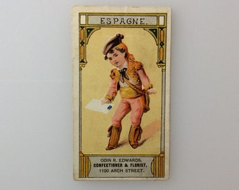 Victorian ADVERTISING Trade Card ESPAGNE Odin R. Edwards Confectioner & Florist 1100 Arch Street Philadelphia