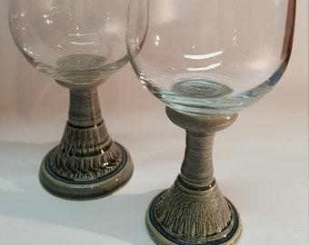 PAIR of Ceramic Wine Glasses, Stoneware Pottery, Wheel Thrown, Handmade Studio Pottery, Unique Stemware, Discounted SET!!