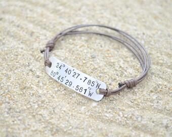 Boyfriend Gift, Coordinate Bracelet, Mens Bracelet, Custom Coordinates, Couples Bracelet, 1 year anniversary