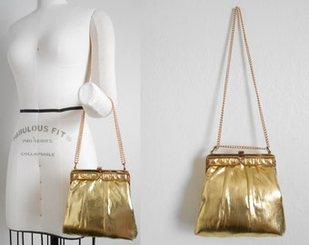 80s vintage bag - gold lamé bag - 80s Dancefloor Moves bag