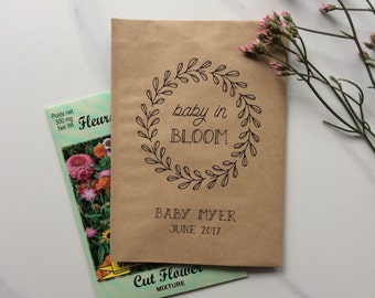 50 Baby in Bloom - Kraft Favor Paper Bags - Baby Shower Favors