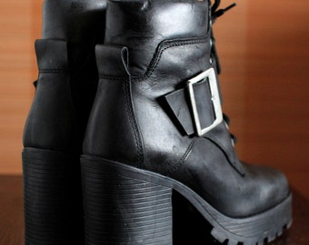 90's black grunge platform lace boots 1990s vintage buckle booties