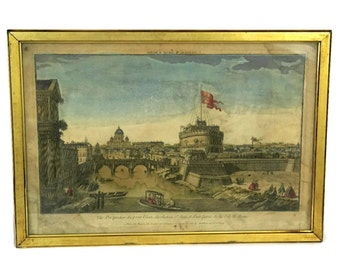 Antique Framed Engraving with View of Rome. Hand Coloured Aquarelle Print. A Perspective View of the Castle of St. Angelo & Elian Bridge.