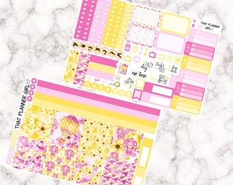Pink Balloons, Yellow Flowers Kit - HORIZONTAL  eekly kit - Erin Condren Planner Stickers - full boxes, 1/2 boxes, washi, icons, banners etc