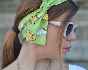 Neon Green Turban, Hair Bow, Gifts Womens, Head Scarfs, Workout Head Scarf, Beach Head Scarf, Head Scarf, Cotton Head Wrap, 50s Head Scarfes