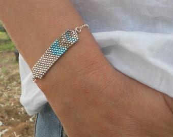 Delicate Sterling Silver Bracelet, Delicate Seed Beads Bracelet, Dainty Silver Turquoise Bracelet, Simple Bracelet Gift Ideas For Woman