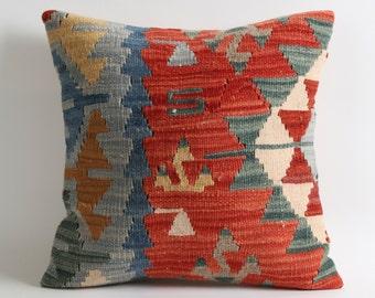 16x16 Aztec bohemian decor red kilim pillow cover // Soft handwoven tribal sofa kilim pillows