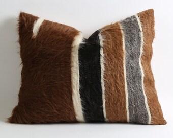 Farmhouse pillows 16x20 Real goat hair vintage kilim pillow cover 60 years old kilim natural fur rustic home decor