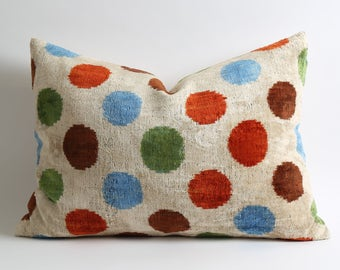 Ikat Velvet Pillow Cover 16x22 Red Green Blue Brown Polka Dots retro pillow indie pillow gift for her accent pillow designer pillow boho