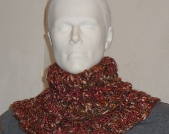 Knitted Turtleneck in Burgundy with beige, Brown and something blue