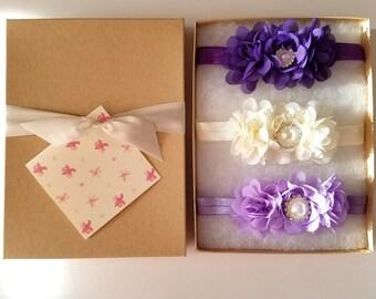 Purple Ivory Lavender Baby Headband Gift Set with Chiffon Flowers, Flower Girl Headband, Toddler Headband, Baby Shower Gift