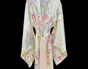 Silk kimono, silk robe, brides silk robe, long silk robes, floral silk robes, silk kimono robe, silk kimonos, silk robes, bridesmaid robe