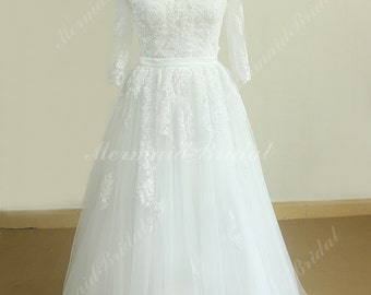 Stunning white open back A Line Tulle lace wedding dress with middle calf sleeves