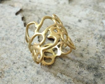 UNIQUE ENGAGEMENT RING Wedding ring Diamond ring Solid gold ring Multi stone ring Gioielli Jewelry Handmade Wedding Band Gold Staetment ring