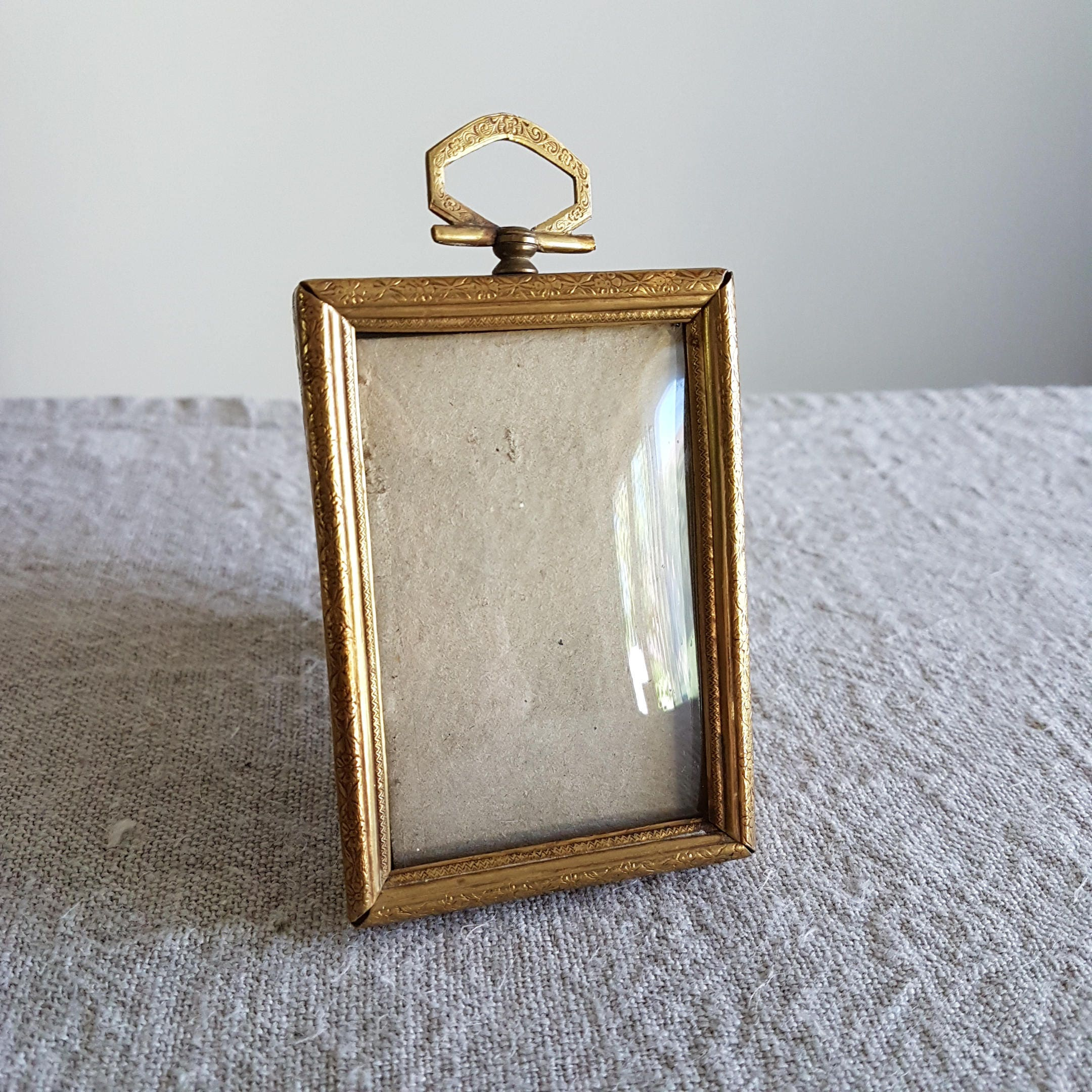 2 14 x 3 38 picture frame in gold metal w dome convex sold by bluechickenvintage jeuxipadfo Images