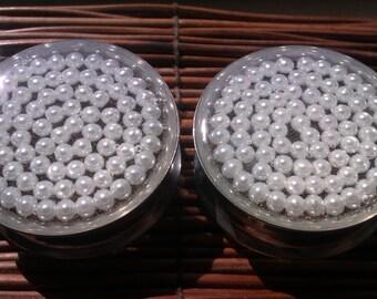 "Faux Pearl Plugs - 3/4, 7/8, 1"", 1 1/8, 1 1/4, 1 3/8, 1 1/2, 1 5/8, 1 3/4, 1 7/8, 2"""