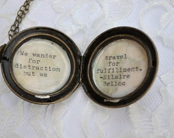 Brass Locket with Hilaire Belloc Quote