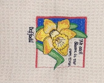 Daffodils - Microfiber Hand Towel - We each bloom in ourown time - Cream