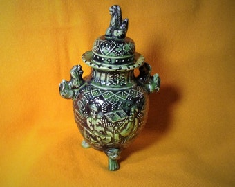 Oriental Green Lidded Jar or Urn - Ornate Design - Sits on 3 Feet