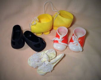 Set of 4 Pairs of Baby Doll Shoes - For Cabbage Patch & Other Dolls - Yellow Rollerskates, Tennis Shoes, Ballet Shoes