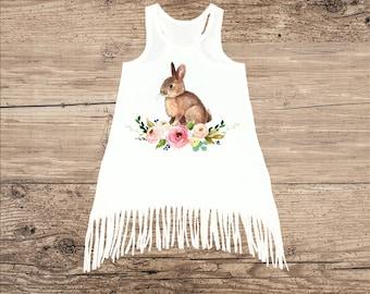 Easter Bunny Dress for Baby, Toddler Dress, Fringe Tank Top Dress