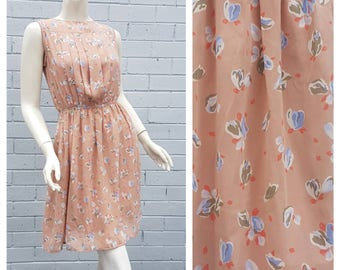 Vintage Late 1970s Japanese 'Connie' Label Blush Abstract Floral Print Pin Tuck Bodice Soft Pleat Skirt Dress Small Medium
