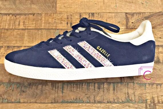 Adidas Superstar White navy Swarovski Crystal Rhinestones